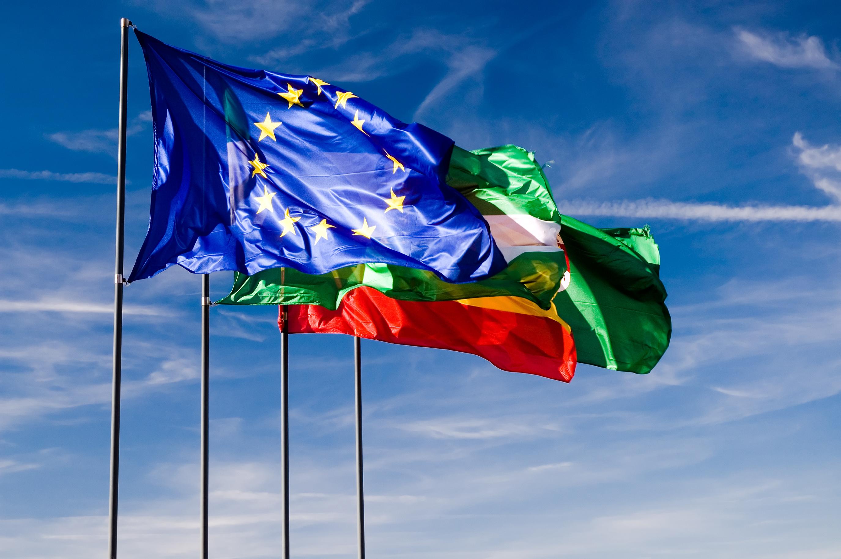 European flag against blue sky